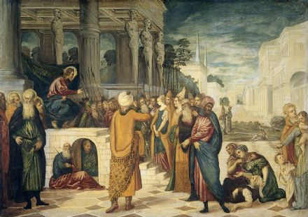 Tintoretto, Jacopo Robusti: Christ and the Adulteress. Fine Art Print.  (001992)
